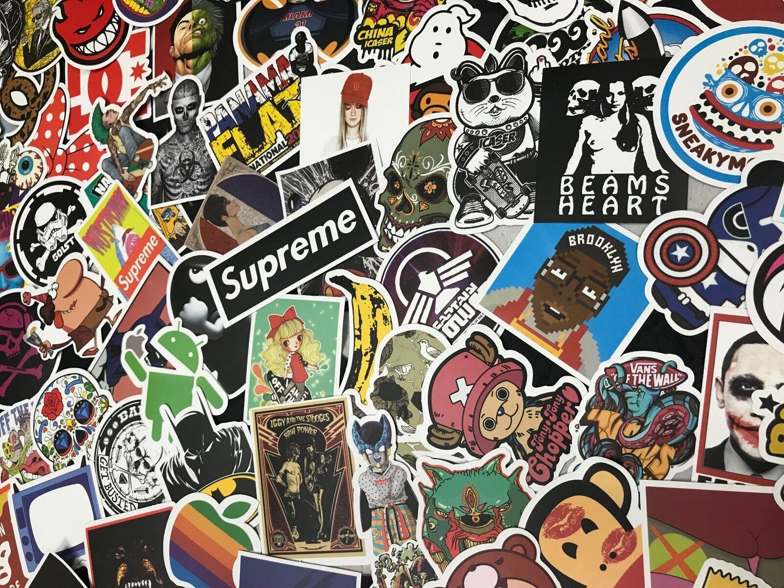 100pcs cool skateboard stickers bulk pack snowboard vinyl decor decals black for sale online ebay
