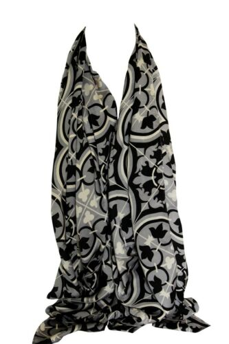 Abstract Floral Print Plush Fine SILK Scarf Shawl Stole Wrap Hijab Head Scarf