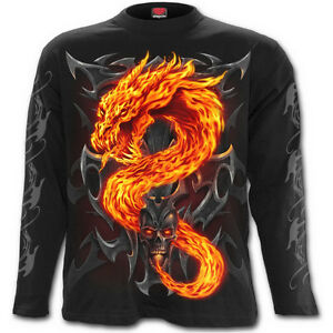 Spiral direct fire dragon long sleeve t shirt biker tattoo for The girl with the dragon tattoo t shirt