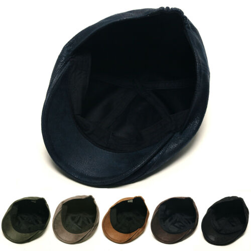 Unisex Mens Womens PU Polyester Plain Flat Cap Newsboy Cabbie Gatsby Driver Hats