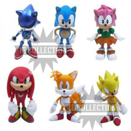 Sonic Set 6 Characters Figure Statuette the Hedgehog Super Metal Cake Action