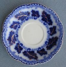 SEVEN Johnson Brothers Normandy Grape Leaves Flow Blue Saucers w Gold