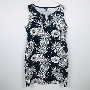 Talbots-Women-039-s-Tank-Dress-Size-L-Navy-Blue-with-Pineapples-Stretchy-Sun-Beach