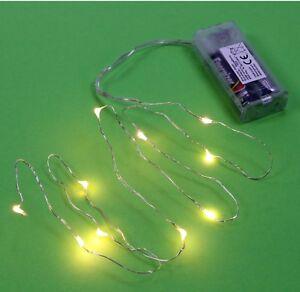 micro led lichterkette mit 10 l mpchen draht warmwei mikro leds batteriefach ebay. Black Bedroom Furniture Sets. Home Design Ideas
