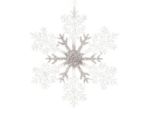 Weihnachtsschmuck Schneeflocken 32cm Kunststoff Anhänger Glitzer Fensterdeko