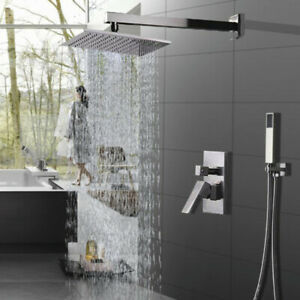 Shower-Faucet-System-Set-Brushed-Mixer-8-inch-Rainfall-Shower-Head-Mixer-Tap-US