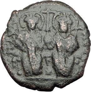 JUSTIN-II-amp-Sophia-565AD-Half-Follis-Antioch-Ancient-Byzantine-Coin-CROSS-i64942