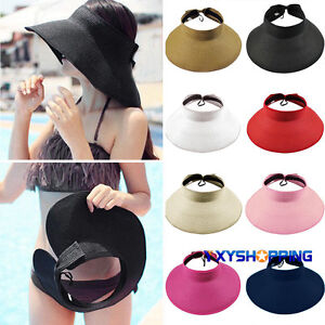 a94321b064e61 Boho Style Women Wide Brim Straw Visor Hat Roll Up Foldable Floppy ...