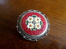 Beautiful Vintage  Micro Mosaic Round Pin/ Brooch ~ Glass Tiles  Italy