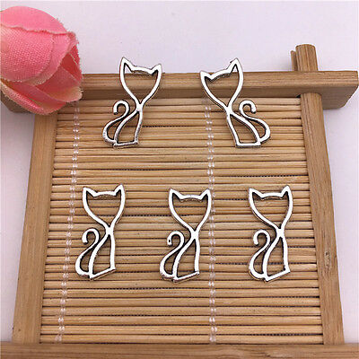 Wholesale 20pcs Tibet Silver Cute Hollowed Cat Charm Pendant Beaded Jewelry AQ01