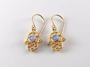 Image Is Loading Gold Hamsa Earrings With Opal