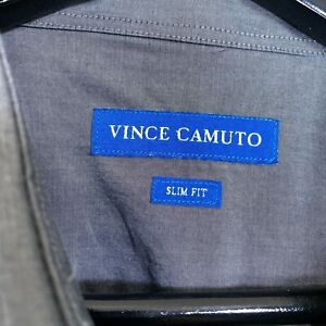 Vince-Camuto-Slim-Fit-100-Cotton-Dress-Shirt-Gray-Men-s-Size-16-5-32-33