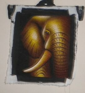 Elephant-Picture-On-Material-32cm-H-x-27cm-W