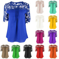 Ladies Summer Lace Shoulder Short Sleeves Chiffon Blouse Casual Shirt Loose Tops