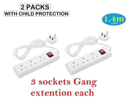 1 3 4 8 Socket Cube Gang Extension Lead USB Charging Cable Plug Socket Germany