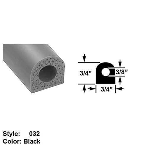 Water Weather Resistant Hollow Foam Rubber Surface Mount Seal Ht 3 4  x Wd 3 4