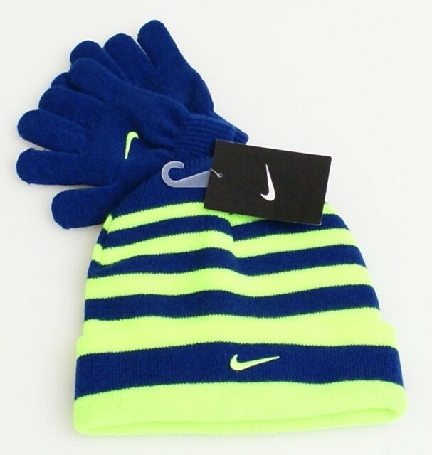 Nike Blue   Volt Stripe Knit Cuff Beanie   Stretch Gloves Youth Boy s 8-20 0f36a7509573