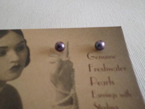 Deco PEARL stud earrings black 4-5mm Sterling 925 Silver Natural Cultured Pearls