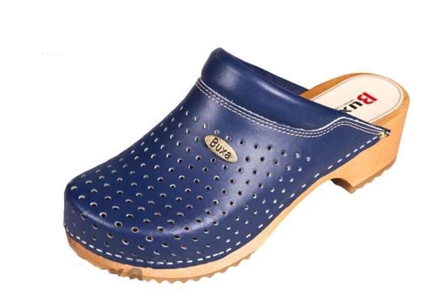 De Madera Cuero zuecos Azul Oscuro Color estilo sueco nos Talla de calzado (para Mujer)