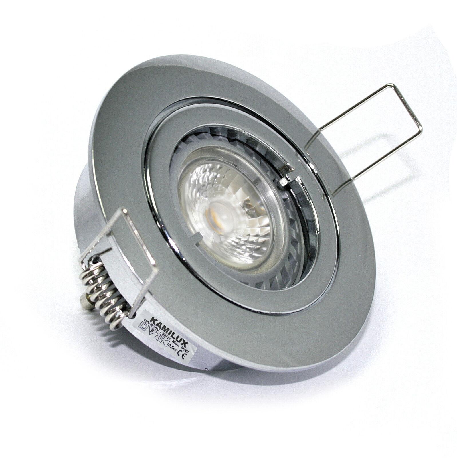 230V Bad Einbaustrahler Spot & GU10 5W HIGH POWER LED Leuchtmittel 5W = 50W hell