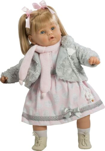 Dulzona muñeca bebé llorona chaleco gris 62 cm Bolsa 80431 Berbesa