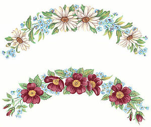 Ceramic-Decals-Daisy-and-Wild-Rose-Flower-Plate-Edge-Rim-Border-Blue-Floral