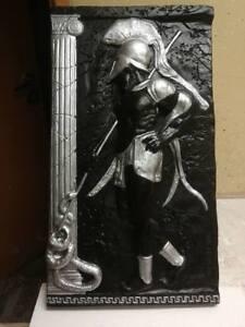 Relief-Griechische-Krieger-Gipsstuck-Gross-Wandrelief-Skulptur-Greek-Antik-Style