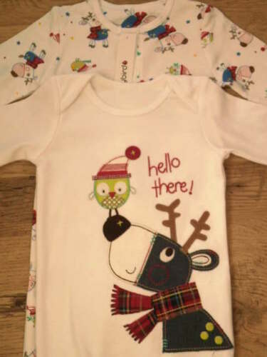 LADYBIRD CHRISTMAS APPLIQUE REINDEER AND ROBIN 100/% COTTON SLEEPSUITS  2 PACK