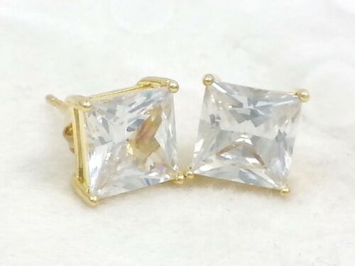 Real 14k Gold Clad .925 Sterling Silver Princess Cut Square Diamond Stud Earring