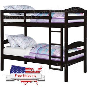 Twin Over Twin Bunk Bed Separable Wooden Home Bedroom Teens Child Espresso Ebay