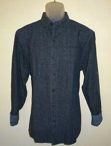 Tommy-Bahama-Mens-L-S-Shirt-Medium-Almeria-Plaid-Blue-Cotton-Linen-Blend-NWT