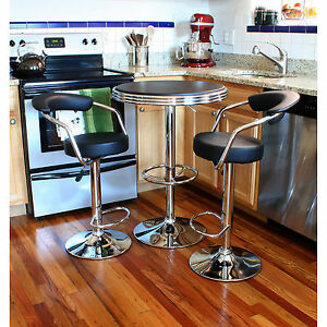 Image Is Loading Black 3 Piece Adjustable Height Bar Stool Home