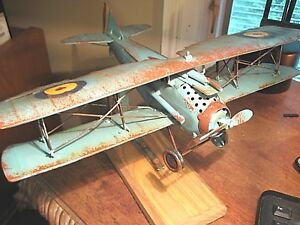 Details About Vintage Style Metal Bi Plane Mounted Military Aircraft Decor Model Airplane