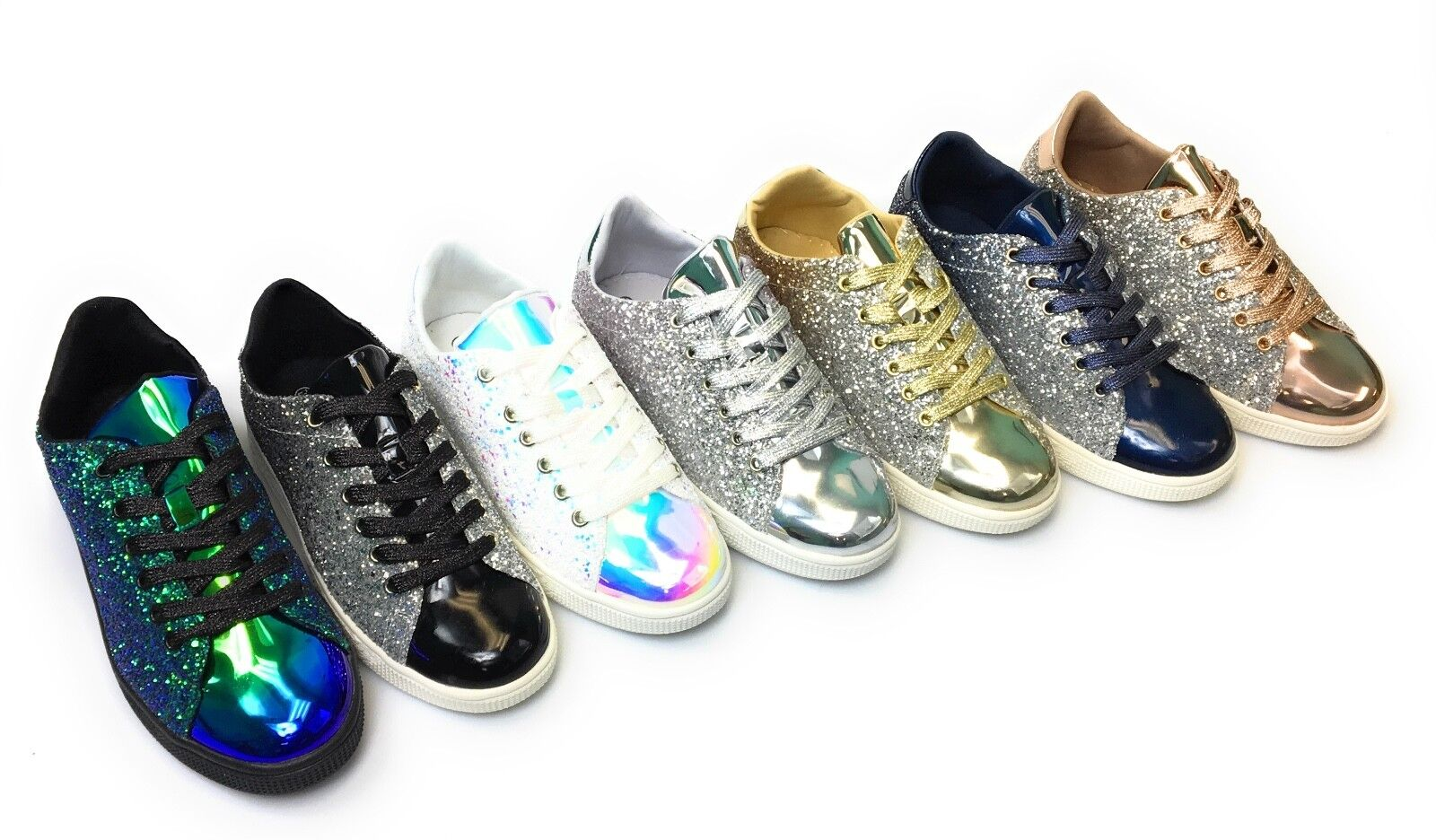 Womens Lace Up Glittered Upper Mesh Fabric Tongue Sneaker Forever Link Glitter 1