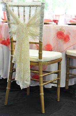 1 IVORY VINTAGE LACE CAP HOOD WEDDING  CHAIR SASHES BOWS