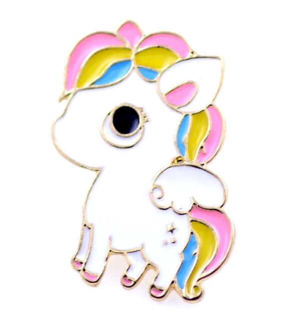 Enamel little pony / flying horse / unicorn brooch / pin