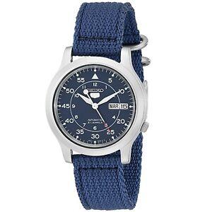 Seiko-5-SNK807-K2-Automatic-Blue-Nylon-Canvas-Strap-Men-039-s-Watch-with-Seiko-Box