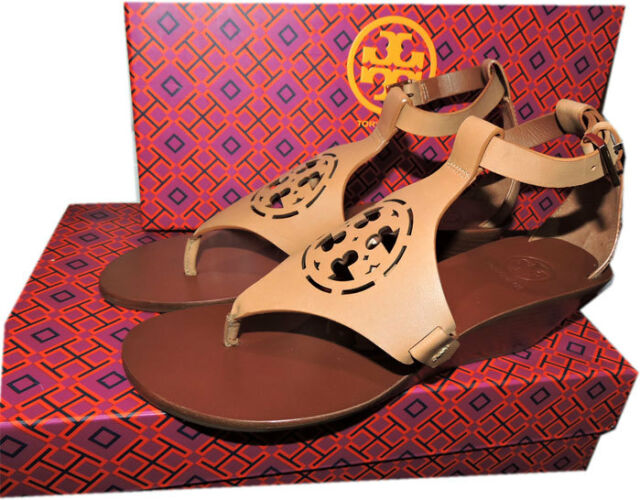 cd1ad6344a Tory Burch ZOEY Sandal Cut Out Leather Logo Shoe Wedge Ankle Strap Shoe Sz  10