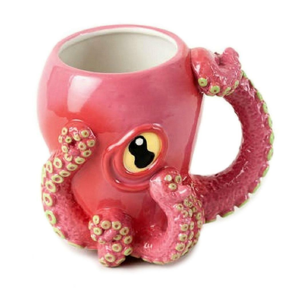 Awesome Octopus Mug Fun Wacky Pink Ceramic 3d Coffee Cup Tentacle Handle New For Sale Online