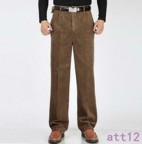 Fashion Men/'s Winter Warm Corduroy Trousers Formal High Waist Thick Casual Pants