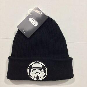 Disney NWT STAR WARS Men's One Size Black Storm Trooper Cuffed Beanie Hat