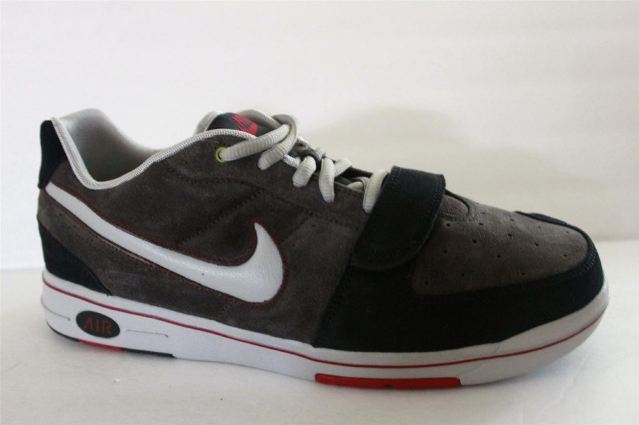 Mens Nike Air Macback Strap Gray Black Suede Skateboard Sneaker Shoe Comfortable