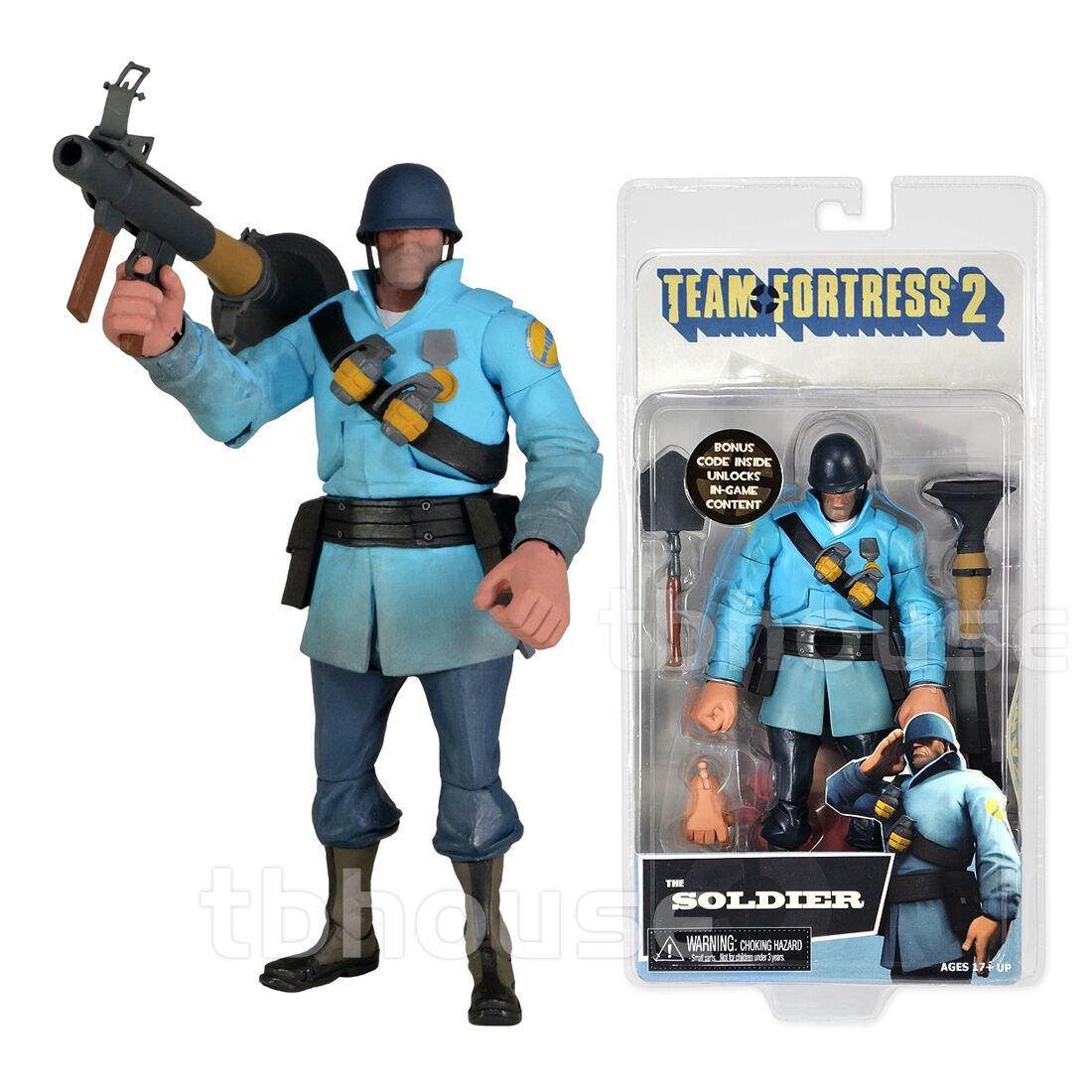 THE SOLDIER figure TEAM FORTRESS 2 Blau BLU EDITION neca SERIES 2 w/ BONUS CODE