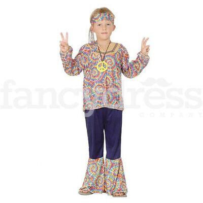 Boys Hippy Costume Hippie 60s 70s Fancy Dress Disco Age 4-12 Flower Power Go Go