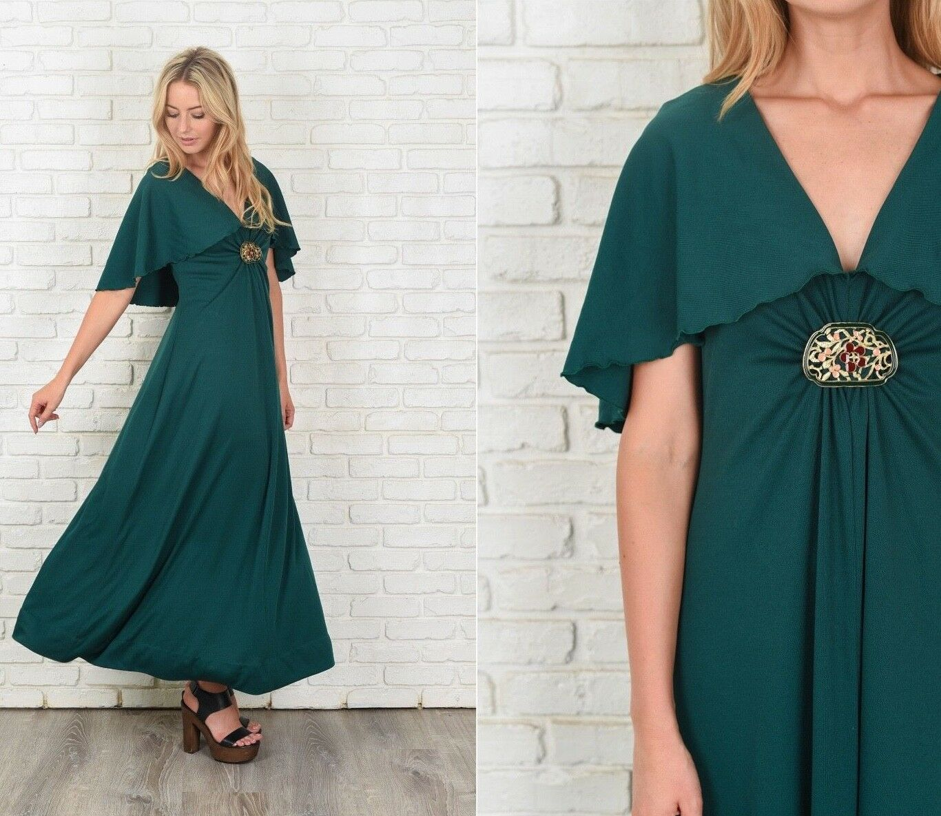 Vintage 70s Green Boho Dress Cape Sleeve A Line Maxi Small S