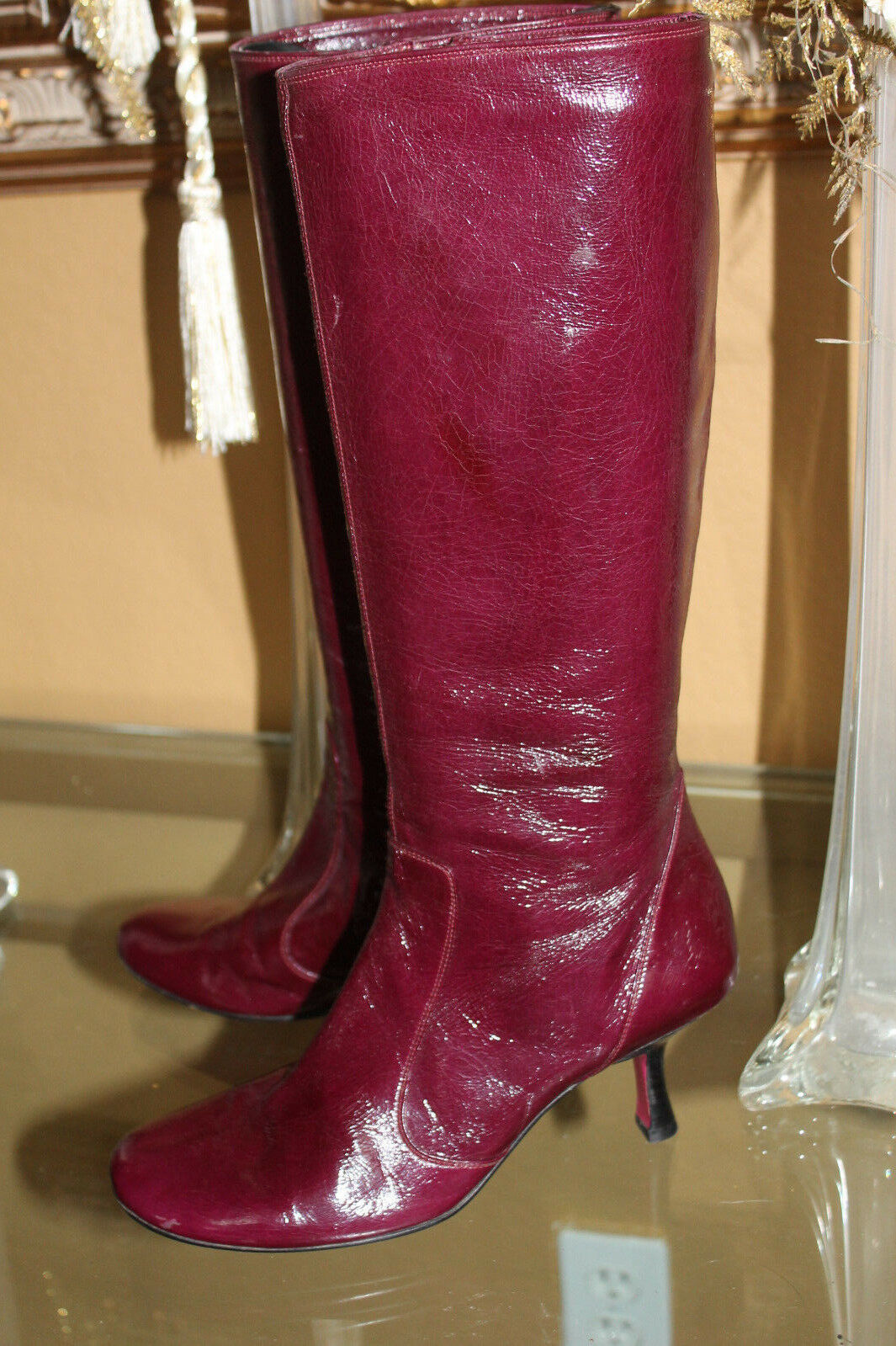 EMANUEL UNGARO Stiefel PURPLE/PINK  Patent Leder 7  Heels Schuhes TALL SOLID