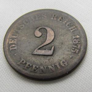 Alter 2 Pfennig 1875 F Deutsches Reich Münze Kleiner Adler