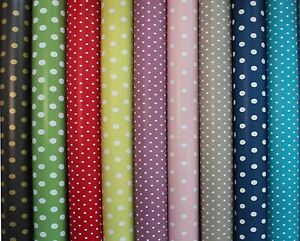 PVC-Vinyl-Tablecloth-Oilcloth-Wipeclean-Spot-Polka-Dots-140cm-Wide-Polka-Dots
