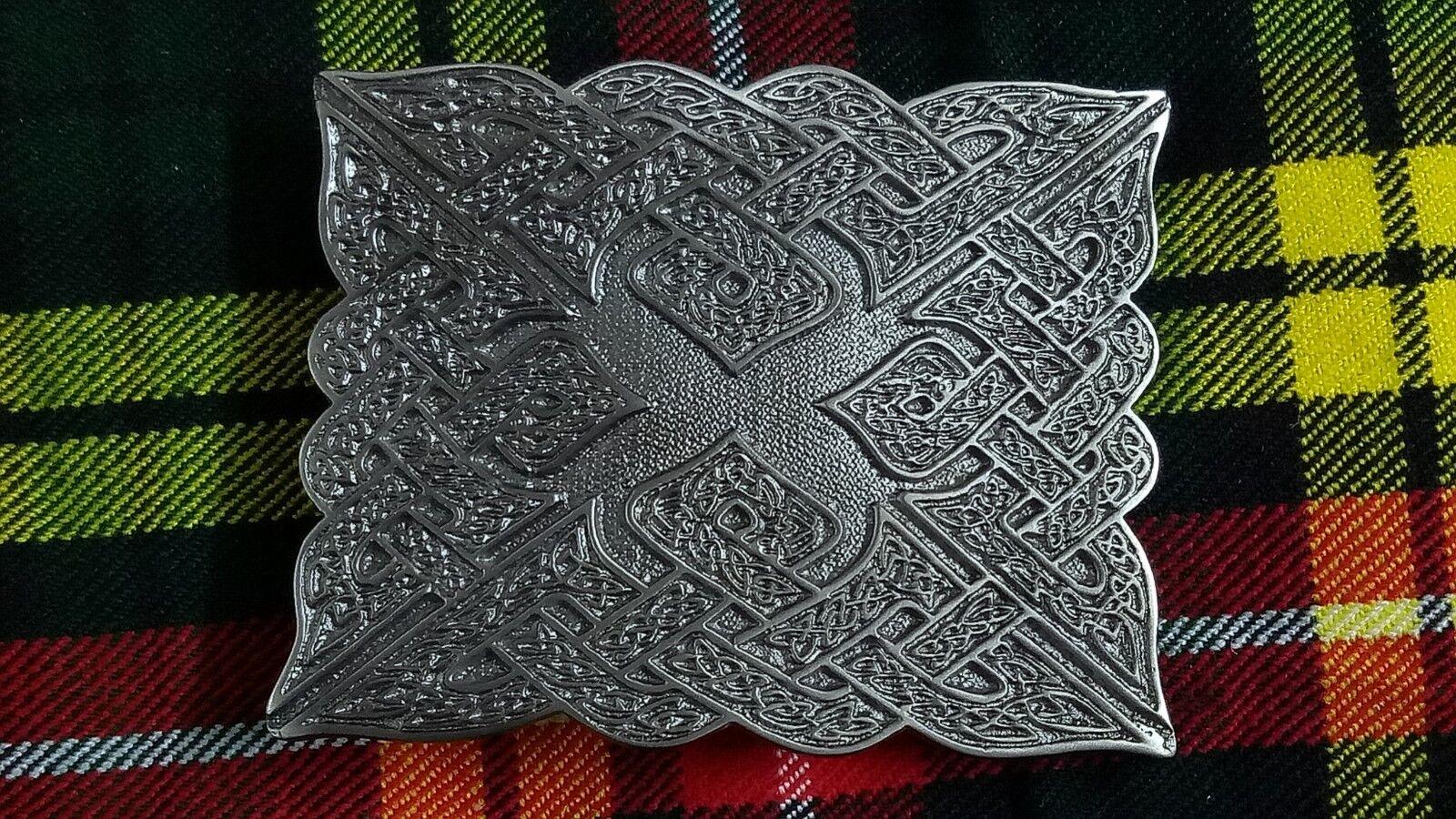 New Celtic Raised Kilt Belt Buckle Silver Antique Finish/Scottish Belts Buckles