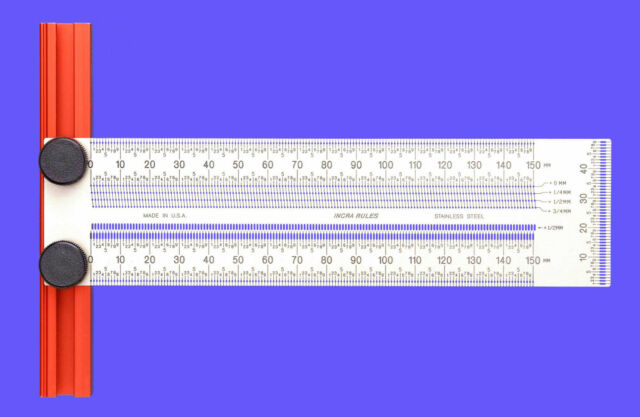 Incra Rules 150 mm Precision T-Rule / Ruler Stainless Steel Metric (T-RULE150M)
